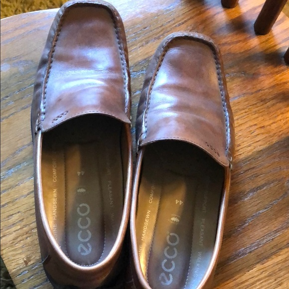Brown Ecco Slip on Moccasin Shoes Size 10.5